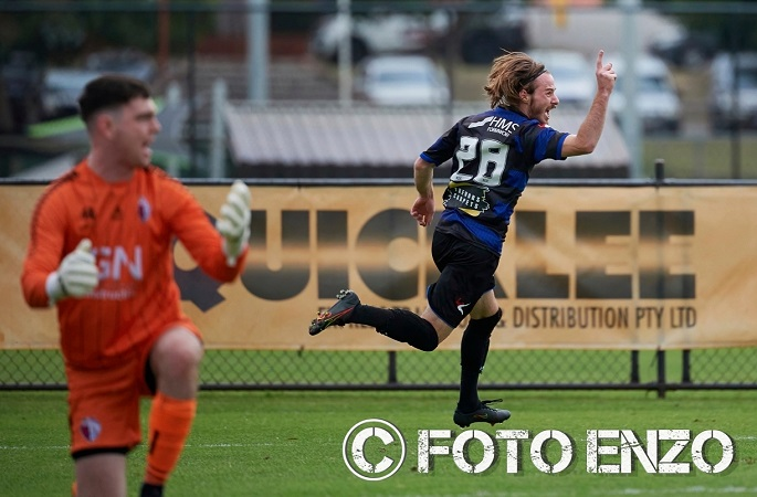 Kosta Sparta celebrates his goal for Bayswater against Balcatta in the FFA Cup. Photo by FotoEnzo