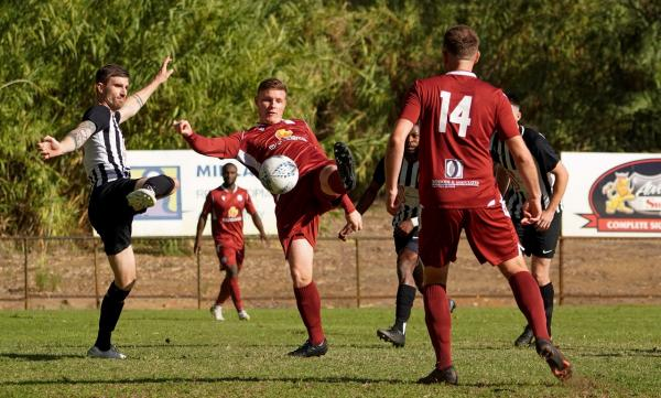 Hayden Stevens opens the scoring for Fremantle City in their 2-2 draw at Swan United